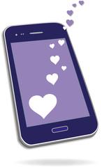 Smartphone mit Herzen