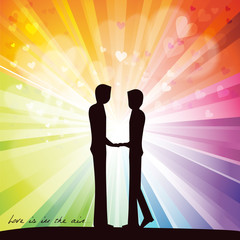 Gay lovers couple staying against rainbow background with hearts