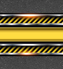 Background with warning stripes on vector asphalt texture