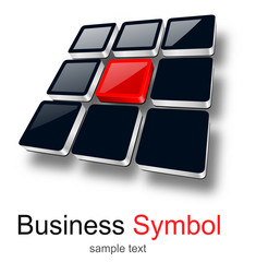 Logo, 3D squares design, red and black.