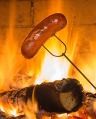 Sausage in the fireplace
