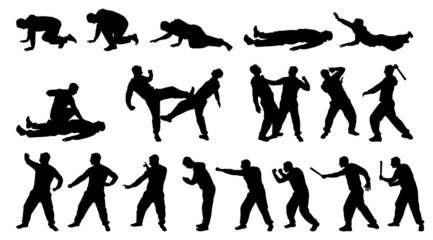 SILHOUETTE COMBAT MAN AND MARTIAL ARTS