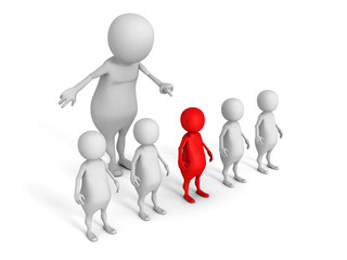white 3d man choice red different person from crowd