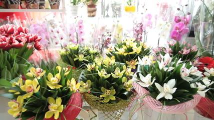 Floral arrangements and bouquets in flower shop