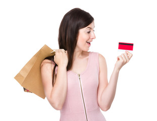 Woman hold with shopping bag and credit card