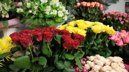 Interior of a flower shop with bouquets of roses