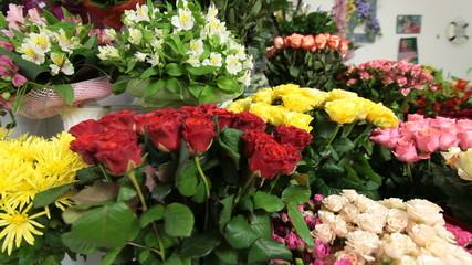 Flower shop interior with floral arrangements and bouquets