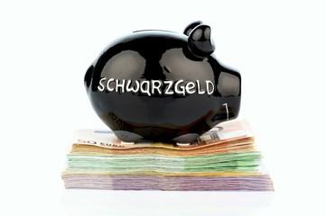 Schwarzes Sparschwein auf Geld