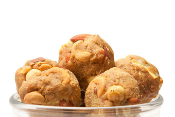 Indian homemade sweet dry fruits laddoo in glass bowl