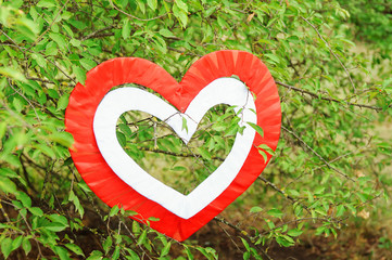 red heart on the green tree