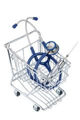 Stethoskop und Einkaufswagen