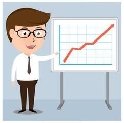 Businessman presentation Growth Chart board