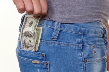 Hand mit Dollar Geldschein