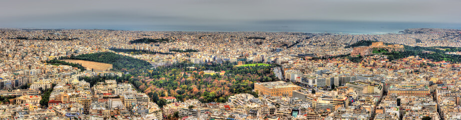 Panorama of the historic center of Athens, Greece