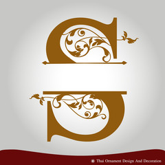 Vector of Letter S in the old vintage style.
