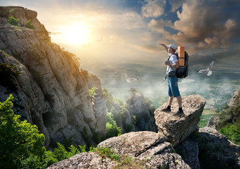 Tourist on rocks
