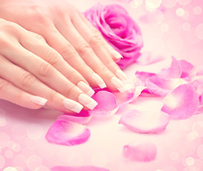 Manicure, Hands spa. Female hands, soft skin, beautiful nails