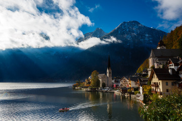 View of the lake and the city of Hallstatt