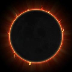 Solar eclipse. Black moon over sun.