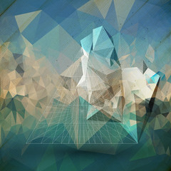 Abstract 3D pyramid. Template for business or science design