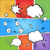 Fototapety Comic strip  and comic speech  bubbles on colorful halftone