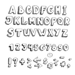 hand drawn alphabet, lowercase and punctuation