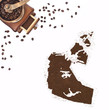 Coffee powder in the shape of Northwest Territories and a coffee