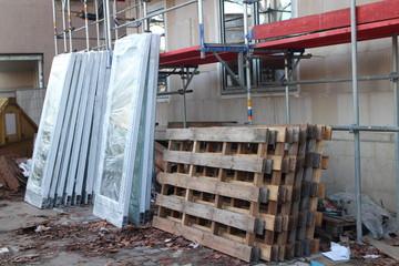 Fenstereinbau Gebäude Baustelle