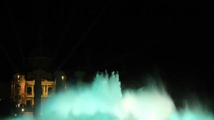 Magic fountain Barcelona at night color blue