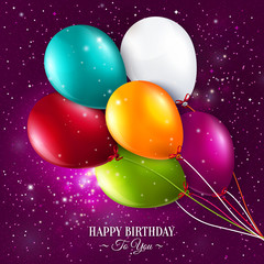 Vector birthday card with balloons and stars on galaxy
