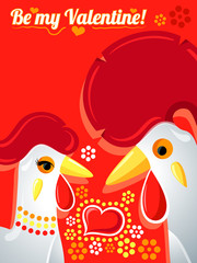 Valentine card with Rooster and Hen