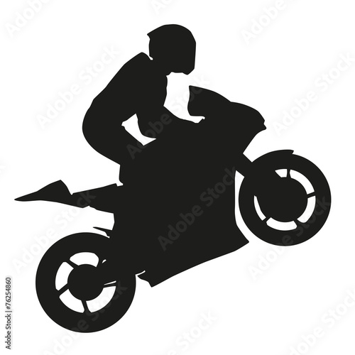 Biker rider lifts the front wheel. Vector silhouette - 76254860