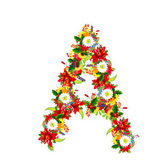 Floral letter A for your design