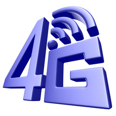 Blue 4G symbol on white background