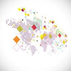 Abstract graphic template with world map dot and geometric