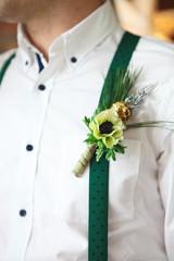 Groom wearing buttonhole