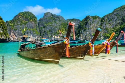 Long-tail boats in Maya Bay, Thailand © davidionut
