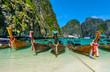 Leinwanddruck Bild - Long-tail boats in Maya Bay, Thailand
