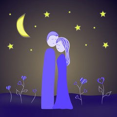 couple illustration at night
