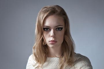 dramatic portrait of beautiful woman