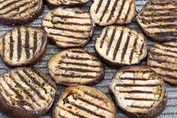 Grilled eggplant in slices