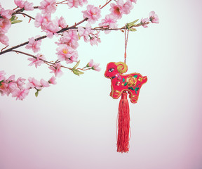 chinese goat knot on white background