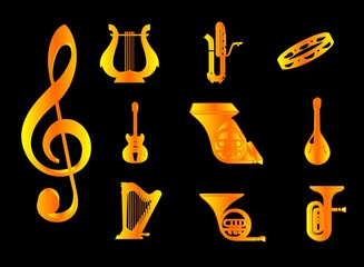 icons gold musical instruments