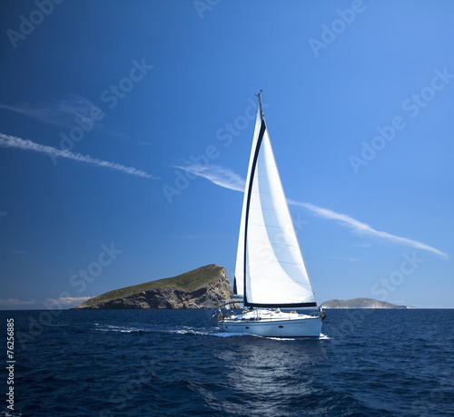 Papiers peints Fluvial Sailing boat in the sea. Luxury Yachts.