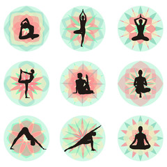 Yoga Postures with floral background