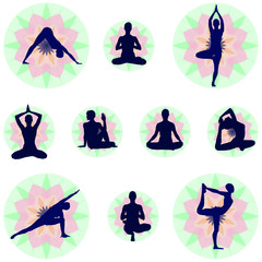Yoga Postures Set With Floral Backgrounds