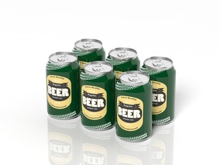3D six pack collection of beer cans isolated on white