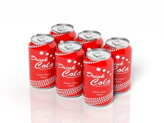 3D six pack collection of cola cans isolated on white