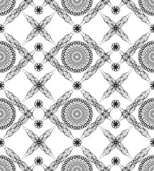 Black/white seamless background with fine art deco patterns