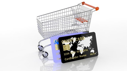 Shopping cart with two credit cards isolated on white